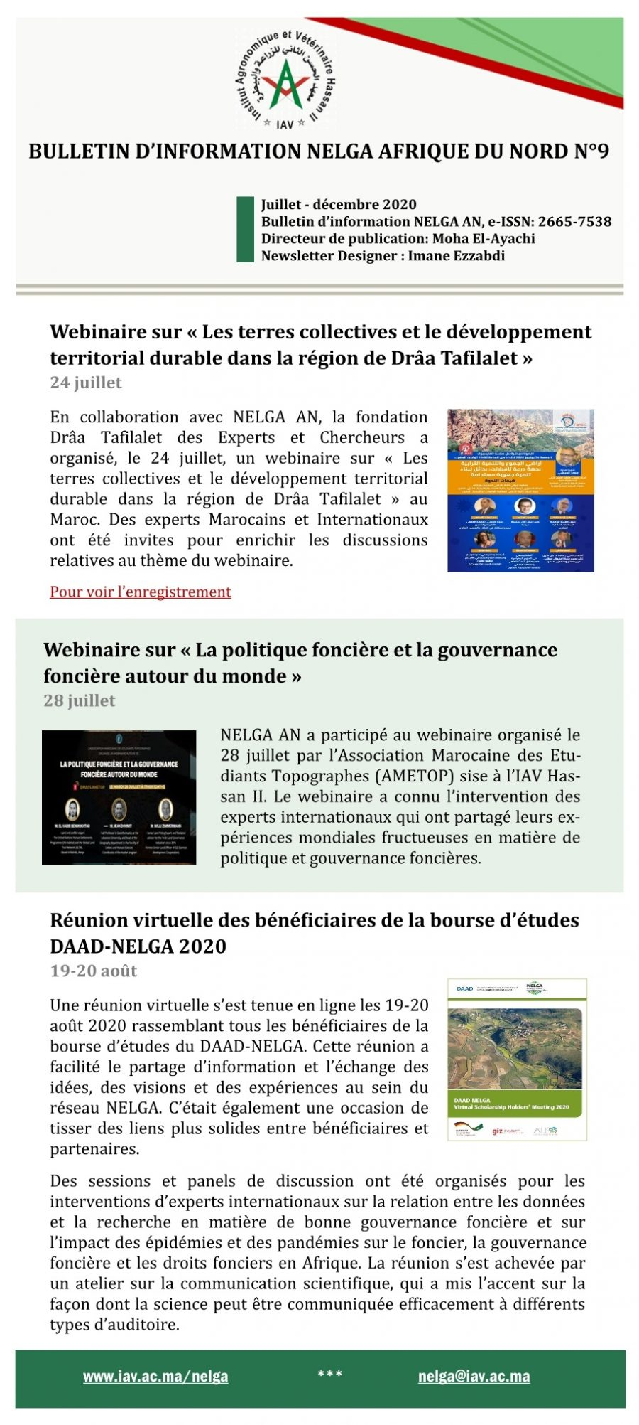 NELGA North African Newsletter N°9 – FR